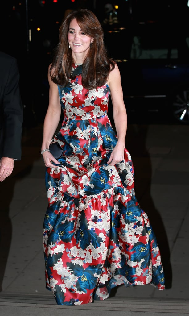 Kate finished her outfit with an eye-catching diamond bracelet that played up the sheen of her silk dress.