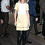 A bright and breezy Fendi dress got an edgy overhaul with a pair of peep-toe Givenchy boots as Cheryl arrived in Cannes in 2015.