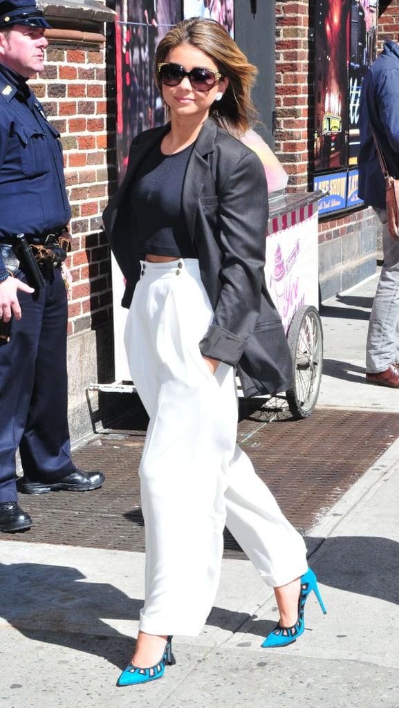 Sarah Hyland in White Pants in New York