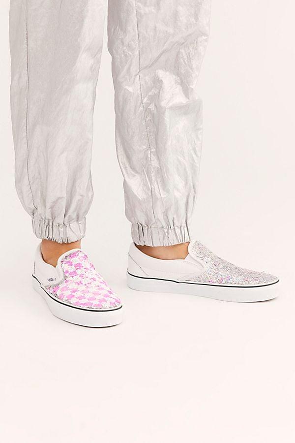 Vans Sequin Classic Slip On Sneaker in Pink Checkerboard