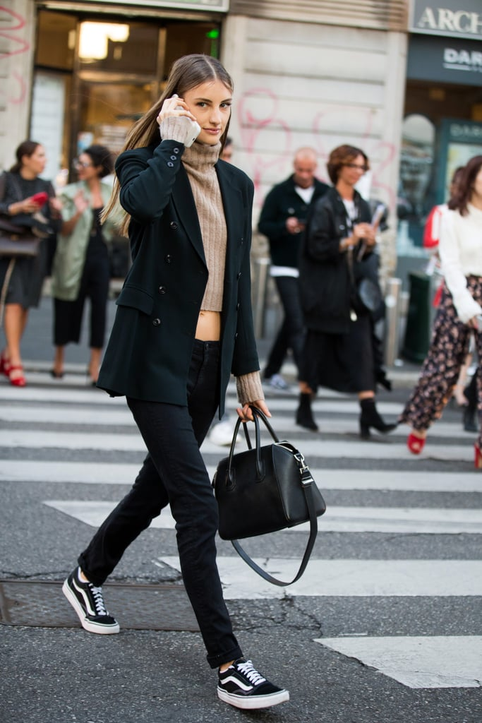 With a Blazer, Cropped Turtleneck, and Low-Rise Pants
