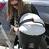 Jessica Alba attends Jessica Simpson's baby shower with her daughter Haven.