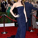 Jennifer Lawrence looked sophisticated in her navy strapless mermaid-cut Christian Dior Haute Couture gown at the 2013 SAG Awards.