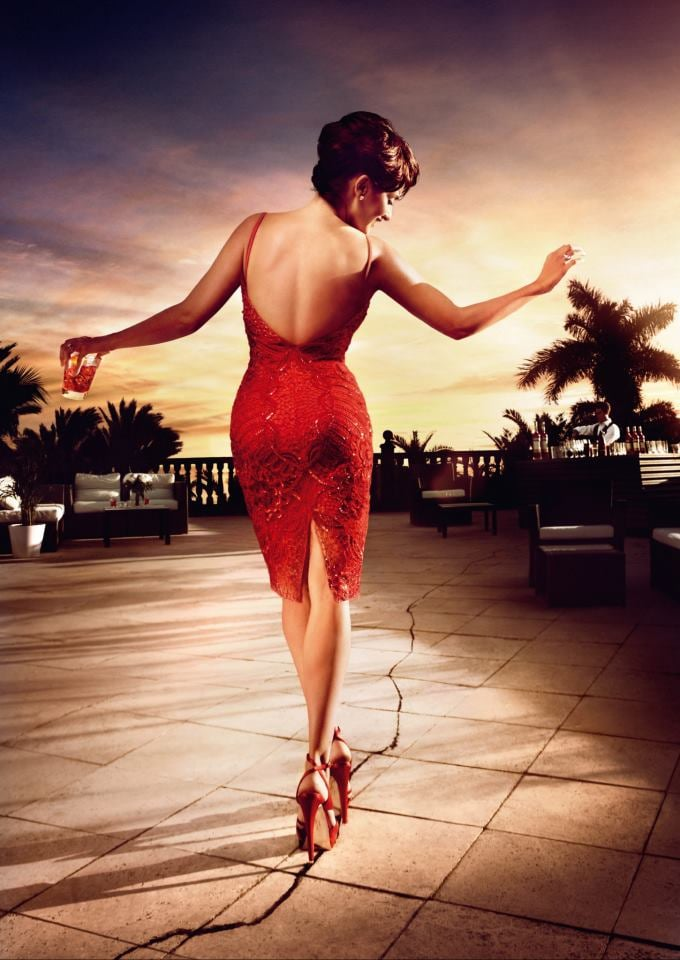 Penélope Cruz walked on a crack for Campari's superstition-themed 2013 calendar.