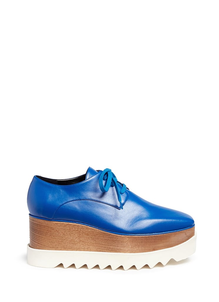 Stella McCartney 'Elyse' wood platform faux leather Derbies ($995)