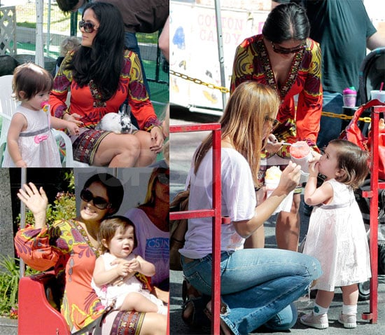 Photos of Salma Hayek and Valentina Petting Bunnies and Eating Ice Cream with Brooke Smith in LA