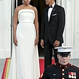 Michelle Obama's White Gown at State Dinner August 2016