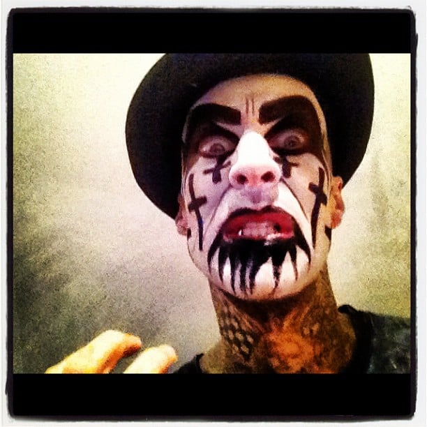 Travis Barker experimented with scary face paint. Source: Instagram user travisbarker