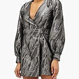Ganni Balloon-Sleeve Metallic Jacquard Wrap Dress