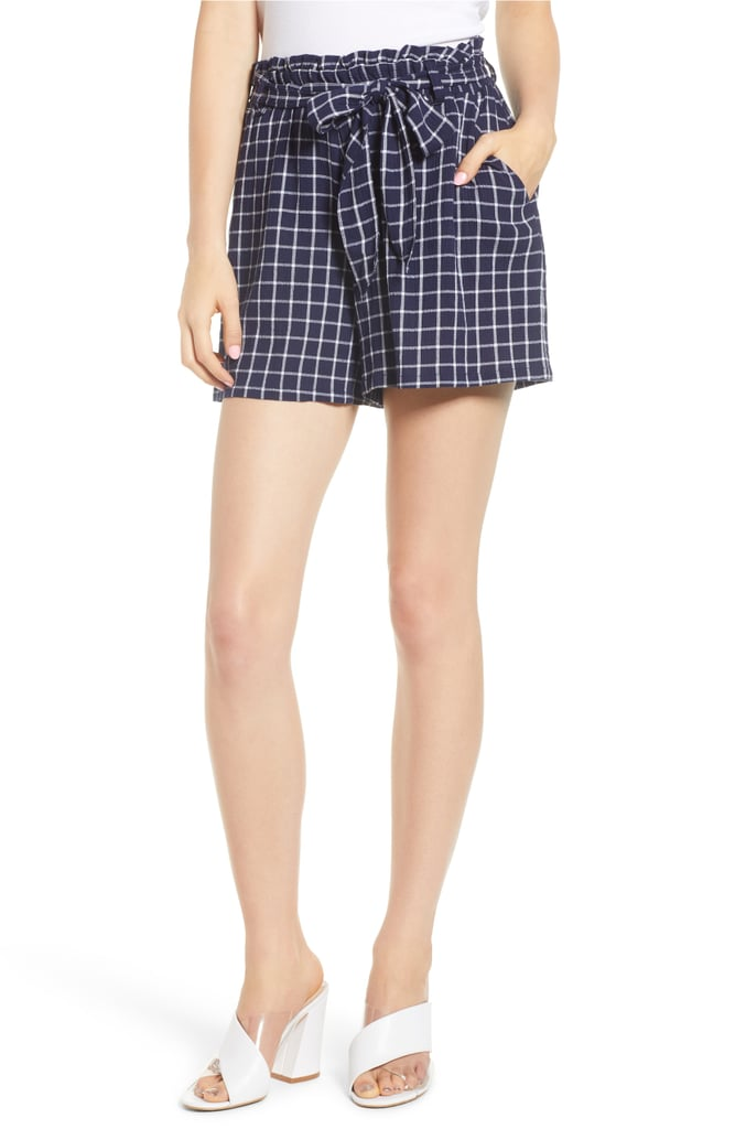 BP. Plaid Paper Bag Waist Shorts