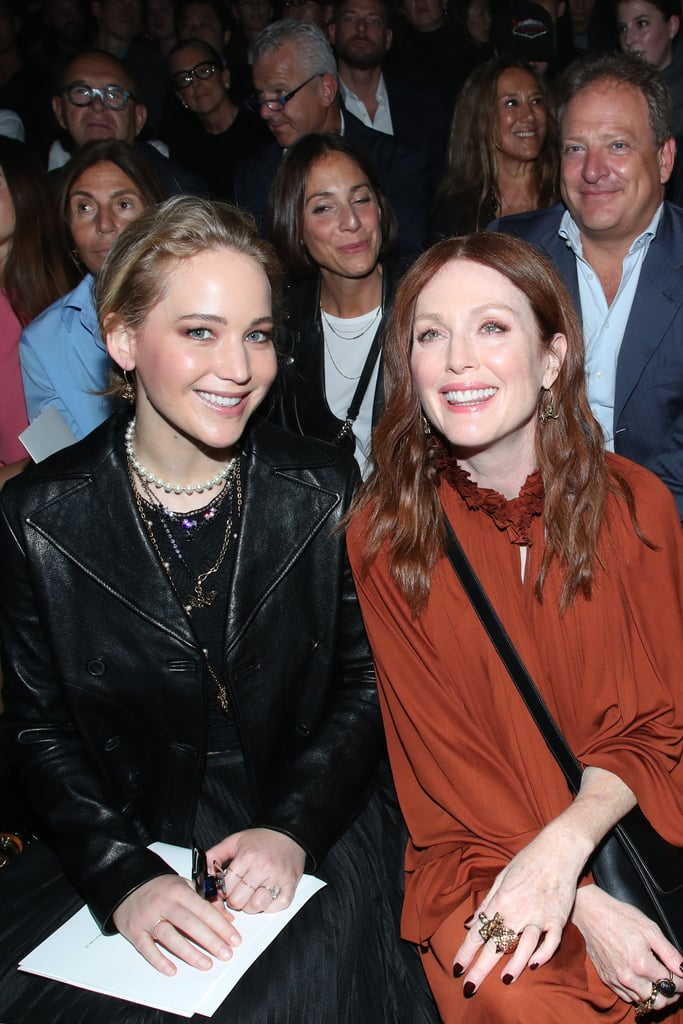 Back together again! Jennifer Lawrence and Julianne Moore had a Hunger Games reunion at the Christian Dior fashion show during Paris Fashion Week on Tuesday. Jennifer and Julianne looked happy to run into each other as they sat front row and greeted each other with a hug. Jennifer famously played Katniss Everdeen in all four Hunger Games movies, while Julianne portrayed President Alma Coin in The Hunger Games: Mockingjay Part 1 and Part 2. We wonder if Katniss finally apologized for murdering President Alma Coin? Jennifer's stylish outing comes amid reports that she and art dealer Cooke Maroney secretly wed at an NYC courthouse on Sept. 16. While the couple has yet to address the speculation publicly, Jennifer and Cooke got engaged this past February after less than a year of dating. The 29-year-old actress also recently released her wedding registry with Amazon. As we wait for more details on Jennifer and Cooke's nuptials, see more of Jennifer and Julianne's reunion ahead!        Related:                                                                                                           30 Times You Wanted Whatever Jennifer Lawrence Was Having