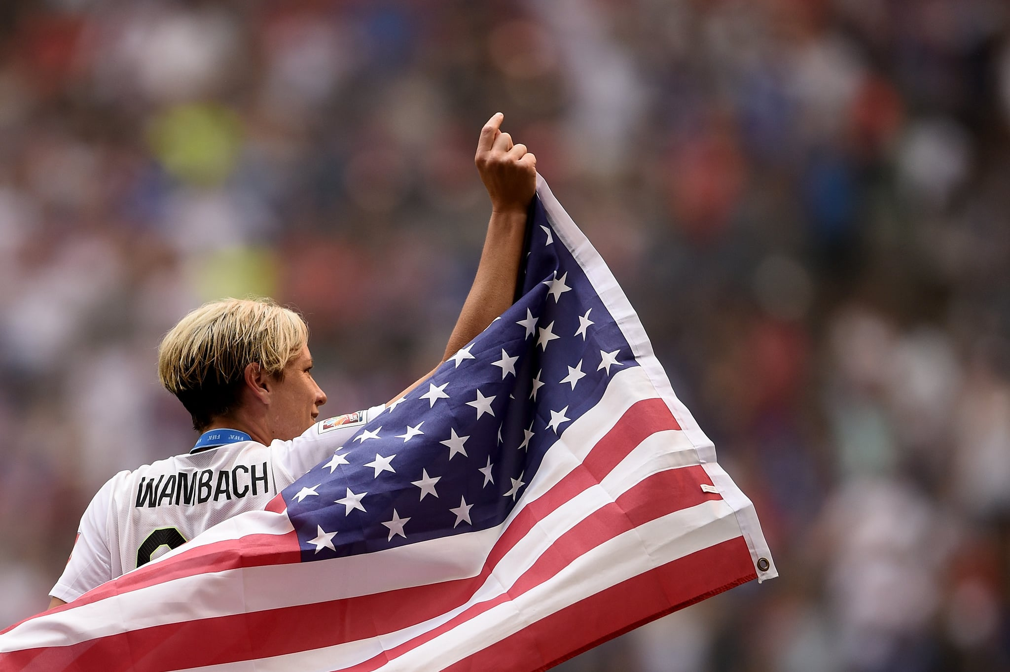 VANCOUVER, BC - JULY 05:  Abby Wambach #20 of the United States of America celebrates after their 5-2 win over Japan in the FIFA Women's World Cup Canada 2015 Final at BC Place Stadium on July 5, 2015 in Vancouver, Canada.  (Photo by Dennis Grombkowski/Getty Images)