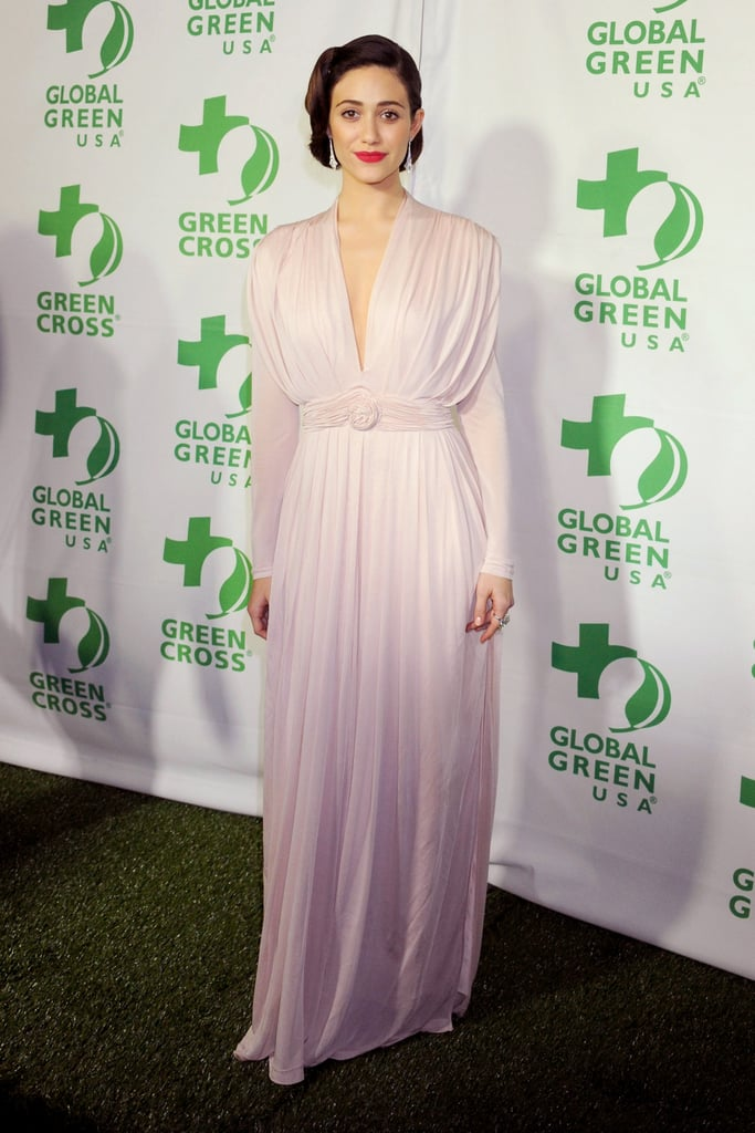 Emmy Rossum channeled Old Hollywood glamour in a draped, Grecian-style gown by Sophia Kokosalaki.