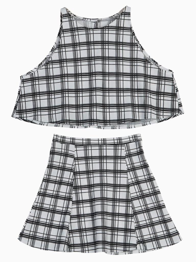 Choies Plaid Crop Top With A-Line Skirt