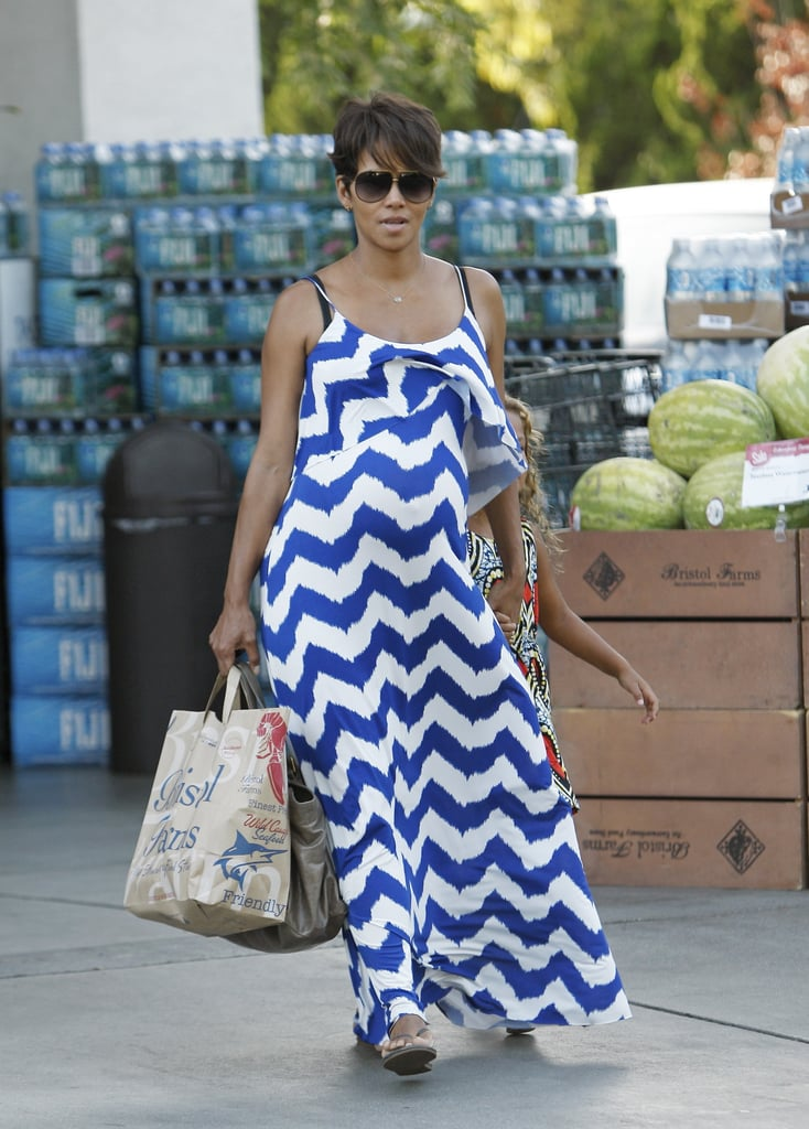 Halle Berry wore a long dress while shopping on Thursday.