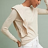 Anthropologie Moth Ruffle-Draped Pullover