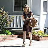 Rachel McAdams wore a blue dress with red stripes in LA.