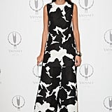 Giovanna Battaglia chose yet another printed look, this time in a modern jumpsuit design, for the Vionnet 100th anniversary in Paris.