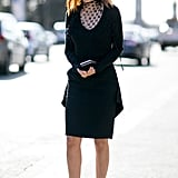 Make all black anything but boring with an intriguing neckline and great heels.