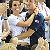 Kate Middleton and Prince William shared a celebratory hug during the London Olympics in August 2012.