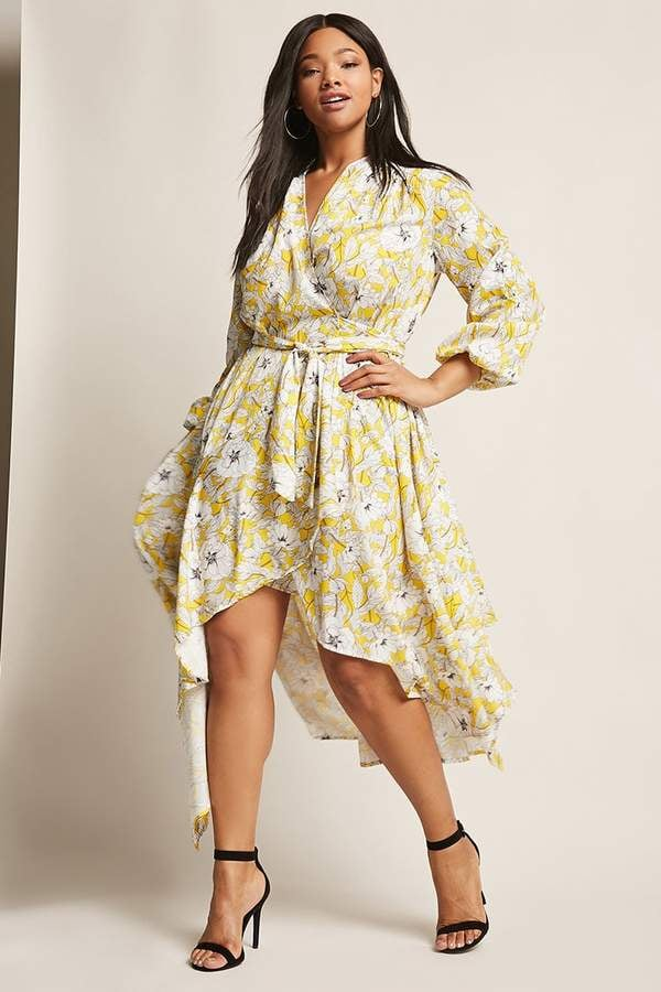 be964ae1d Forever 21 High-Low Floral Wrap Dress | Michelle Obama Wearing Gucci ...