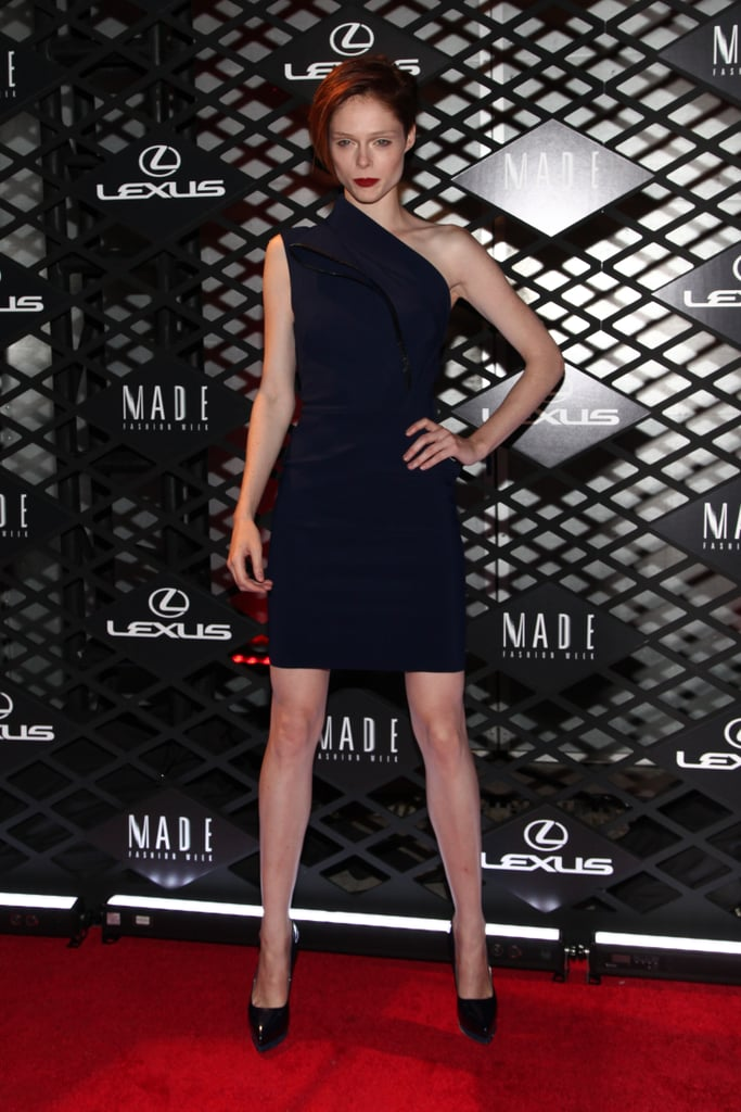 Coco Rocha struck a pose on the red carpet at Lexus' Fashion Week event on Thursday night.