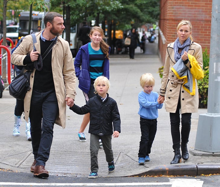 Naomi Watts and Liev Schreiber took their boys out in NYC.