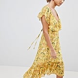 PrettyLittleThing Floral Tie-Back Midi Dress