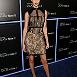Rosie Huntington-Whiteley celebrated at a party for Samsung in a sultry black lace confection from Jason Wu's Spring '13 lineup.