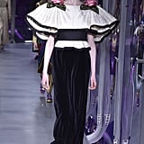 We can easily imagine Cate in this black and white Gucci design with strong sleeves and rose appliqués at the shoulders.