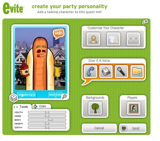 Create Talking Avatars With eVite's Party Personality Service