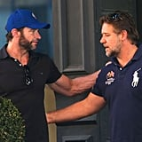 Russell Crowe stopped by Hugh Jackman's NYC cafe.