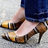 We love the snake print and totally walkable heels.