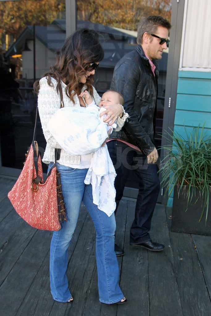 Lindsay Price carried her son Hudson out of the Blue Hotel in Sydney this afternoon. Her boyfriend Curtis Stone was by her side as they headed into a waiting car. The family is in Curtis's native Australia, where he's promoting sustainable seafood and chatted about the benefits of fish on the Today show Sydney and The Morning Show. Lindsay and Curtis welcomed their first child in November last year, and we got our first glimpse at the little guy in March.