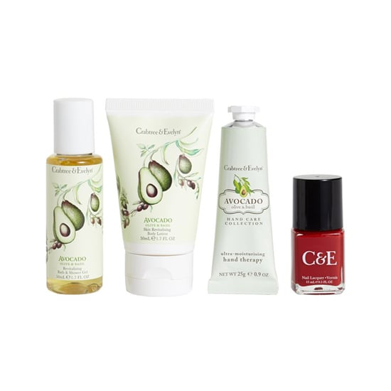 Revive your skin from the holiday partying with a soothing treat. Crabtree & Evelyn Avocado, Olive, and Basil Beauty Box ($15) comes with hand cream, body wash, and body lotion packaged in lovely printed bottles — and a red nail polish to boot.