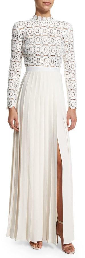 Self-Portrait Long-Sleeve Lace & Crepe Dress ($640)