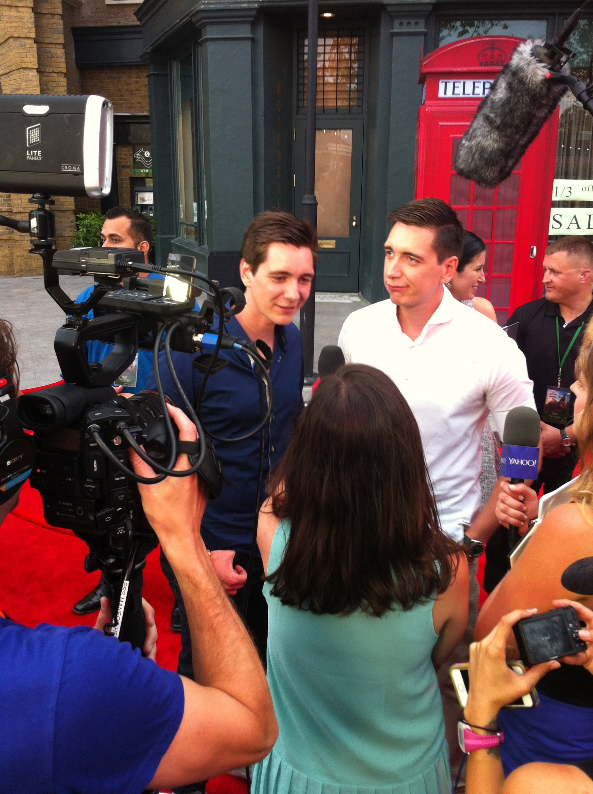 I got some blushing when I asked James (left) and Oliver Phelps about the best Harry Potter pickup lines they've heard.