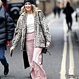 Style Your Leopard-Print Coat With: A Tee, Colored Pants, Sneakers, and a Beanie