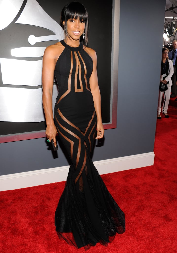 Kelly Rowland pushed the envelope in a mesh panel Georges Chakra Couture gown.
