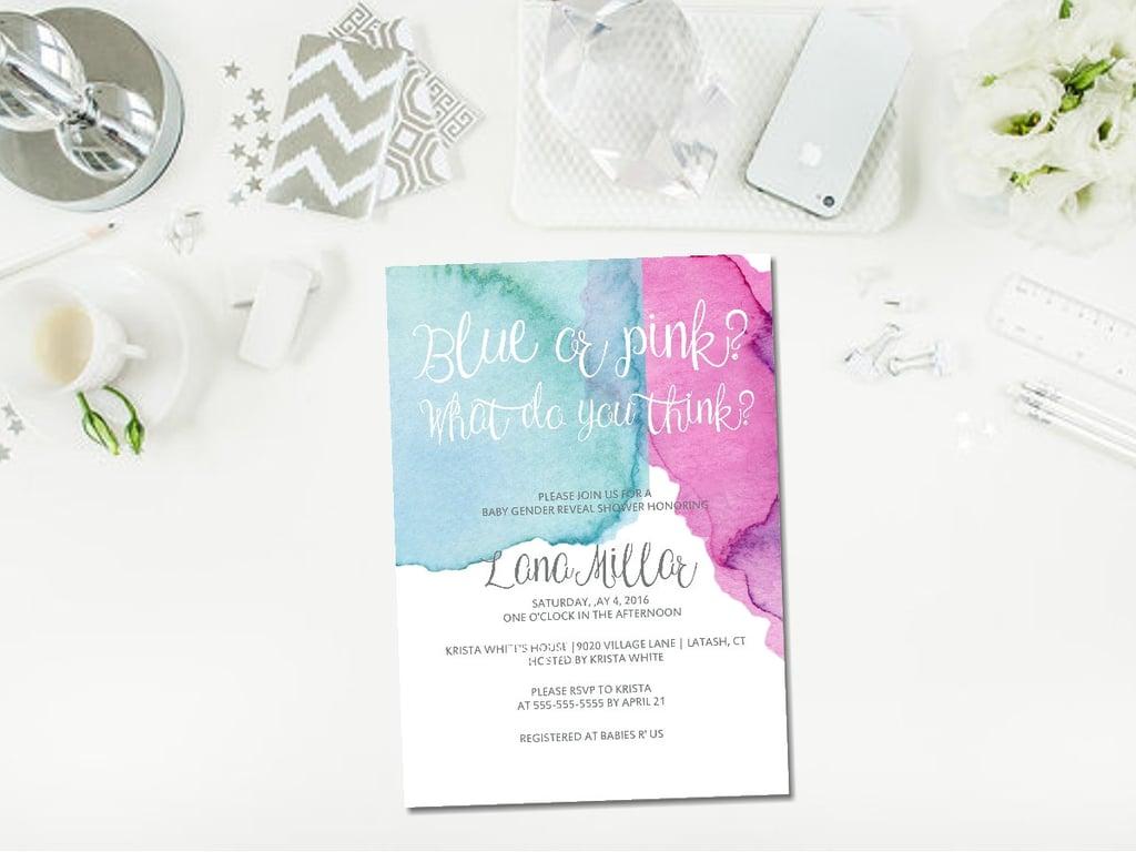 Watercolor Calligraphy Invite