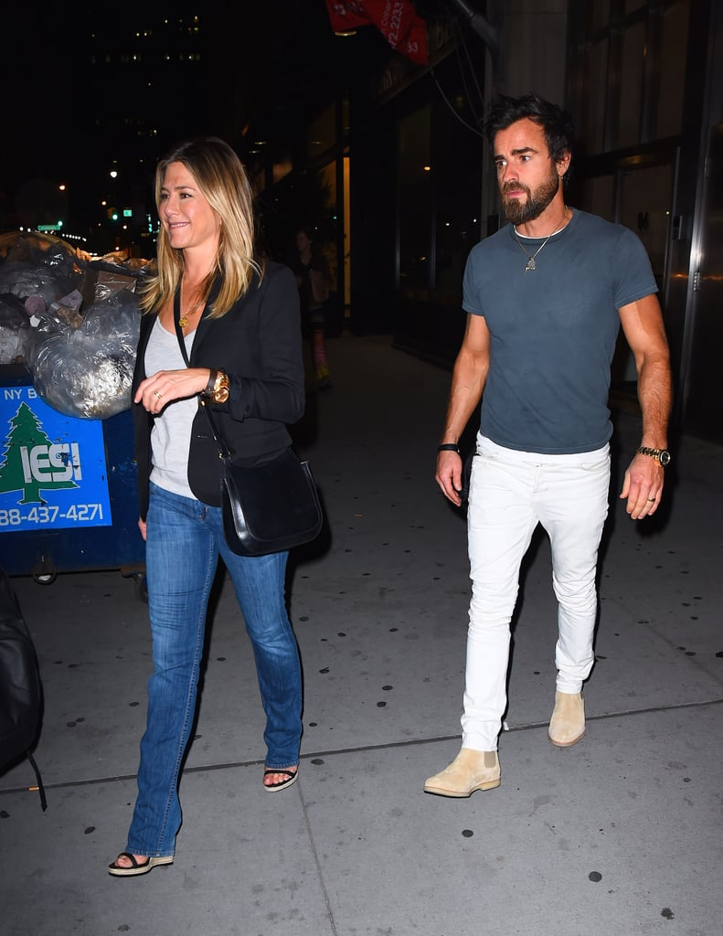 Jen's espadrille wedges also made an appearance with a trusty blazer and a crossbody bag in 2016.