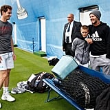 David and Romeo Beckham at Aegon Championships Tennis 2016
