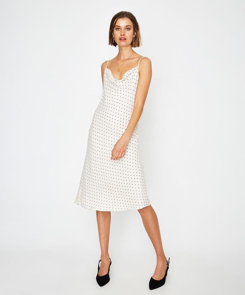 The Wolf Gang Bordeaux Bias Cut Dress Cream Spot ($229)