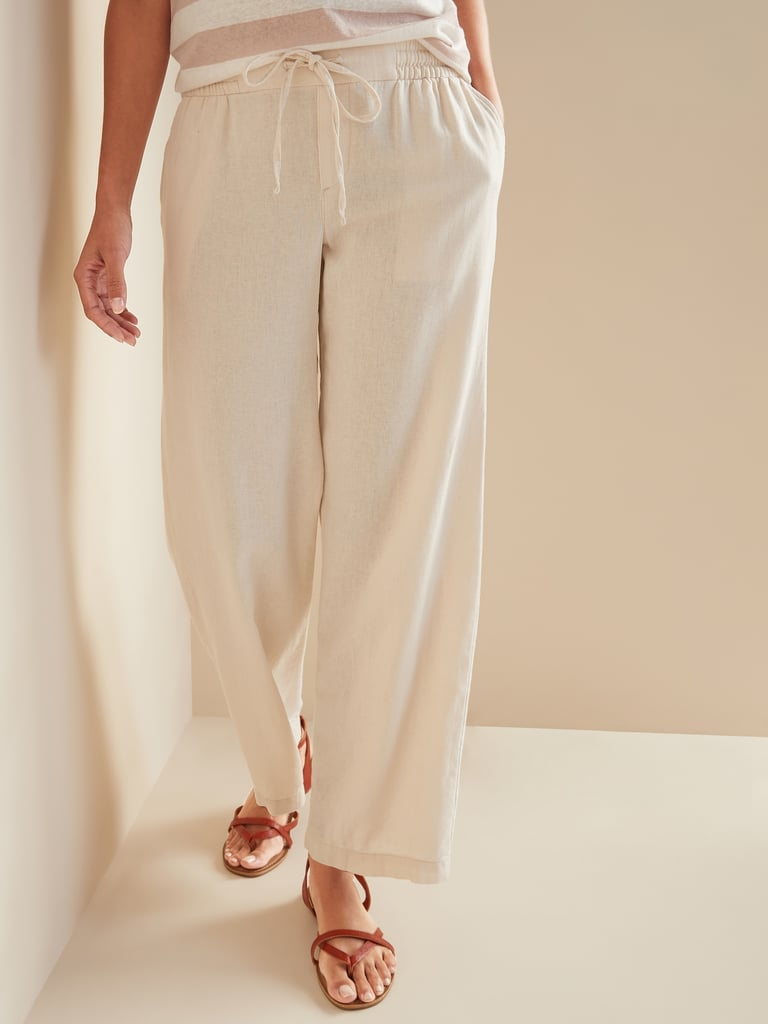 Old Navy Mid-Rise Wide-Leg Linen-Blend Pull-On Pants in Feather