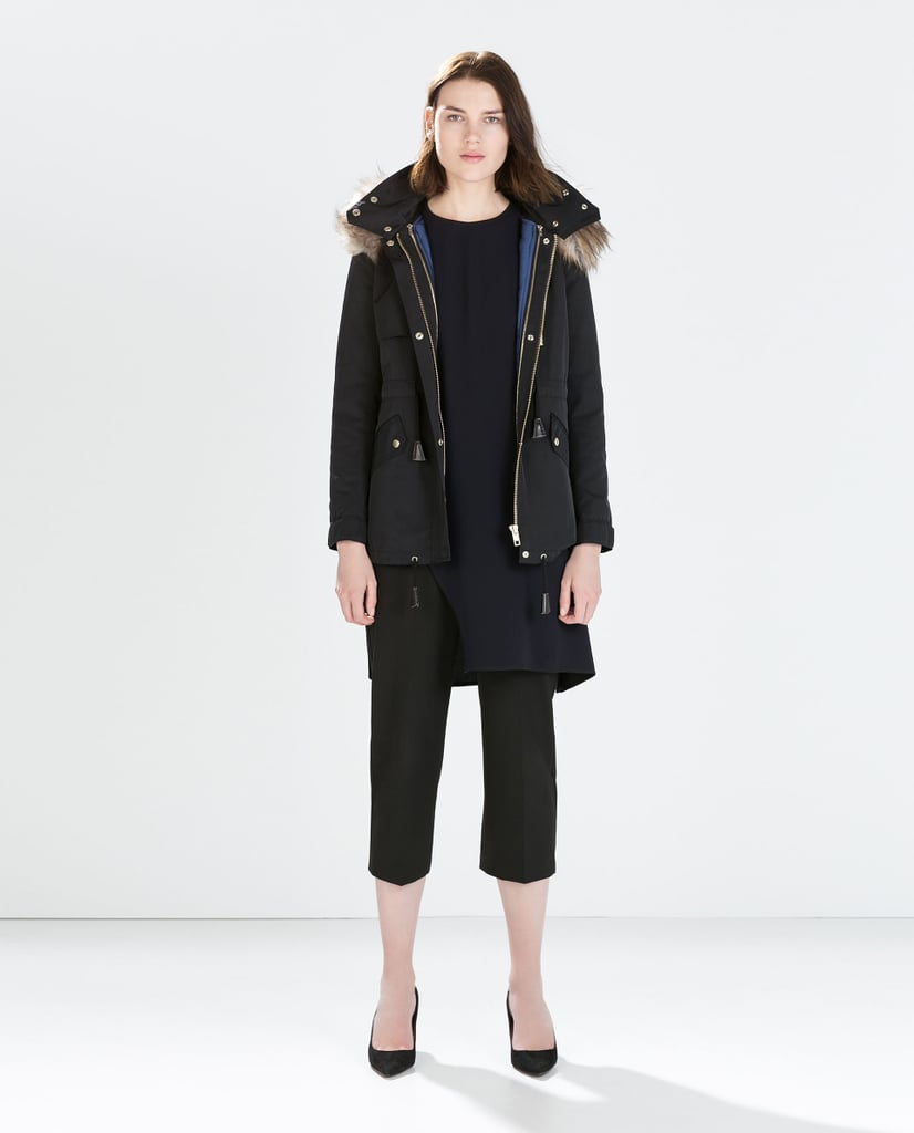 Zara Parka With Faux Fur Hood