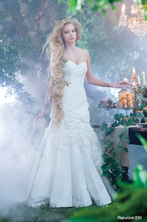Alfred Angelo\'s Rapunzel gown ($1,199) twists around in a similar ...