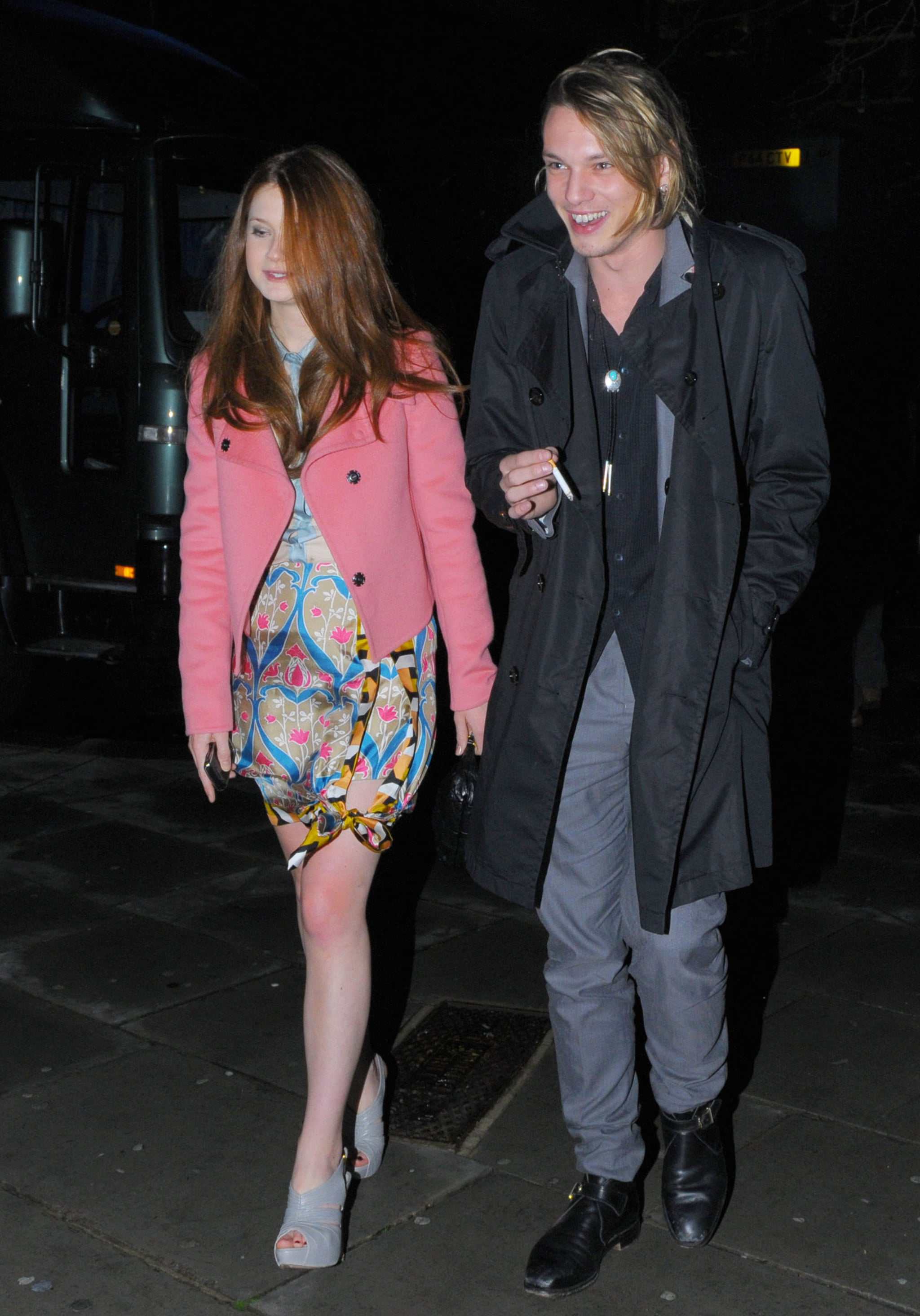 photos of bonnie wright and jamie campbell bower leaving