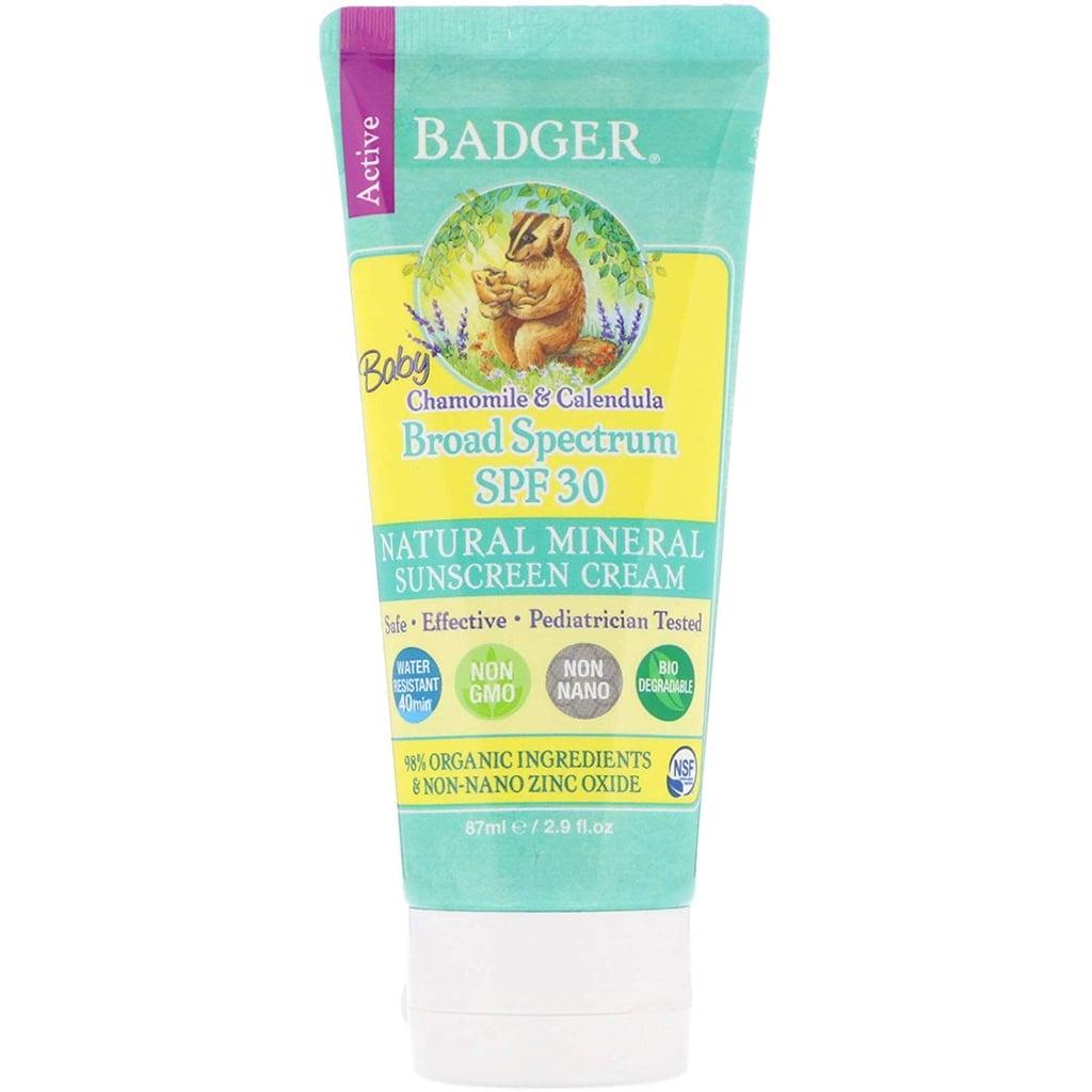 Badger Active Baby Natural Mineral Sunscreen Cream, Chamomile & Calendula, SPF 30