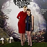 Charlize Theron and Kristen Stewart embraced for the Snow White and the Huntsman photocall in Madrid.