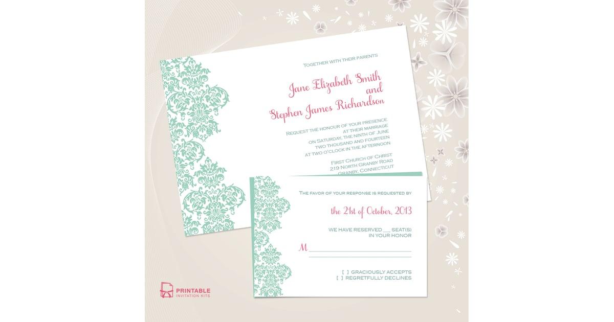 Damask Border Wedding Invitation | Free Printable Wedding ...